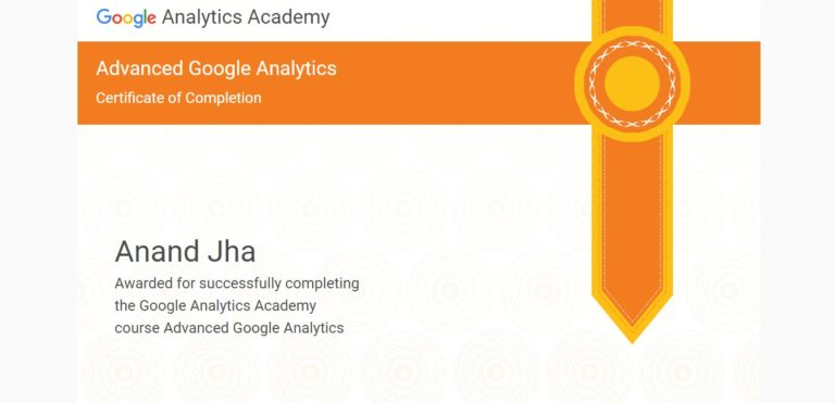 Google analytics  Advanced certification to ANAND | SEOANAND
