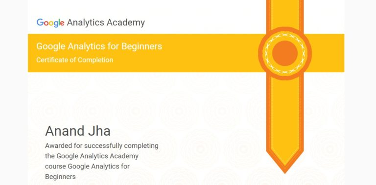 Google analytics certification to ANAND | SEOANAND