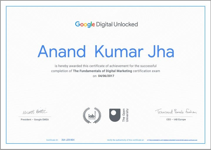 Google digital marketer certification to AnandKJha